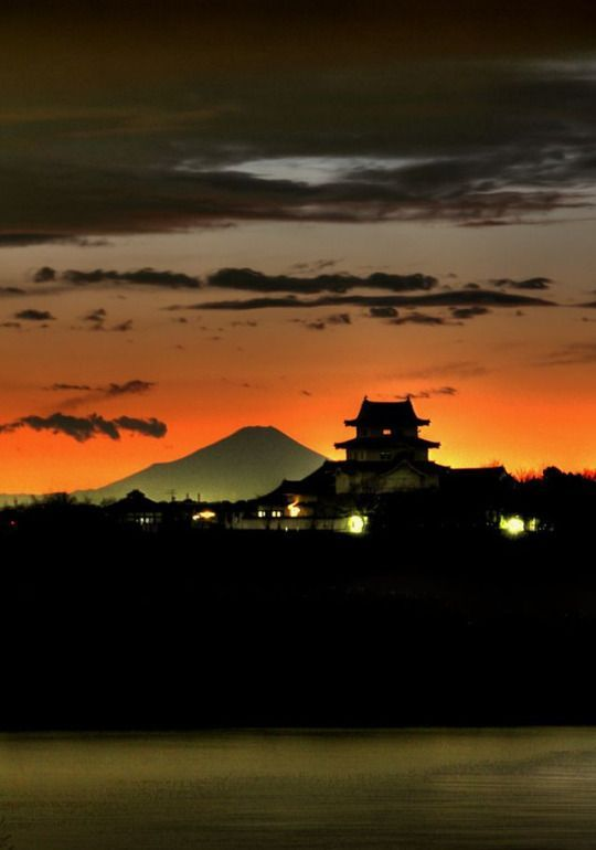 "iseo58: ""Mt. Fuji and Sekiyadojo castle at dusk, Chiba, Japan """