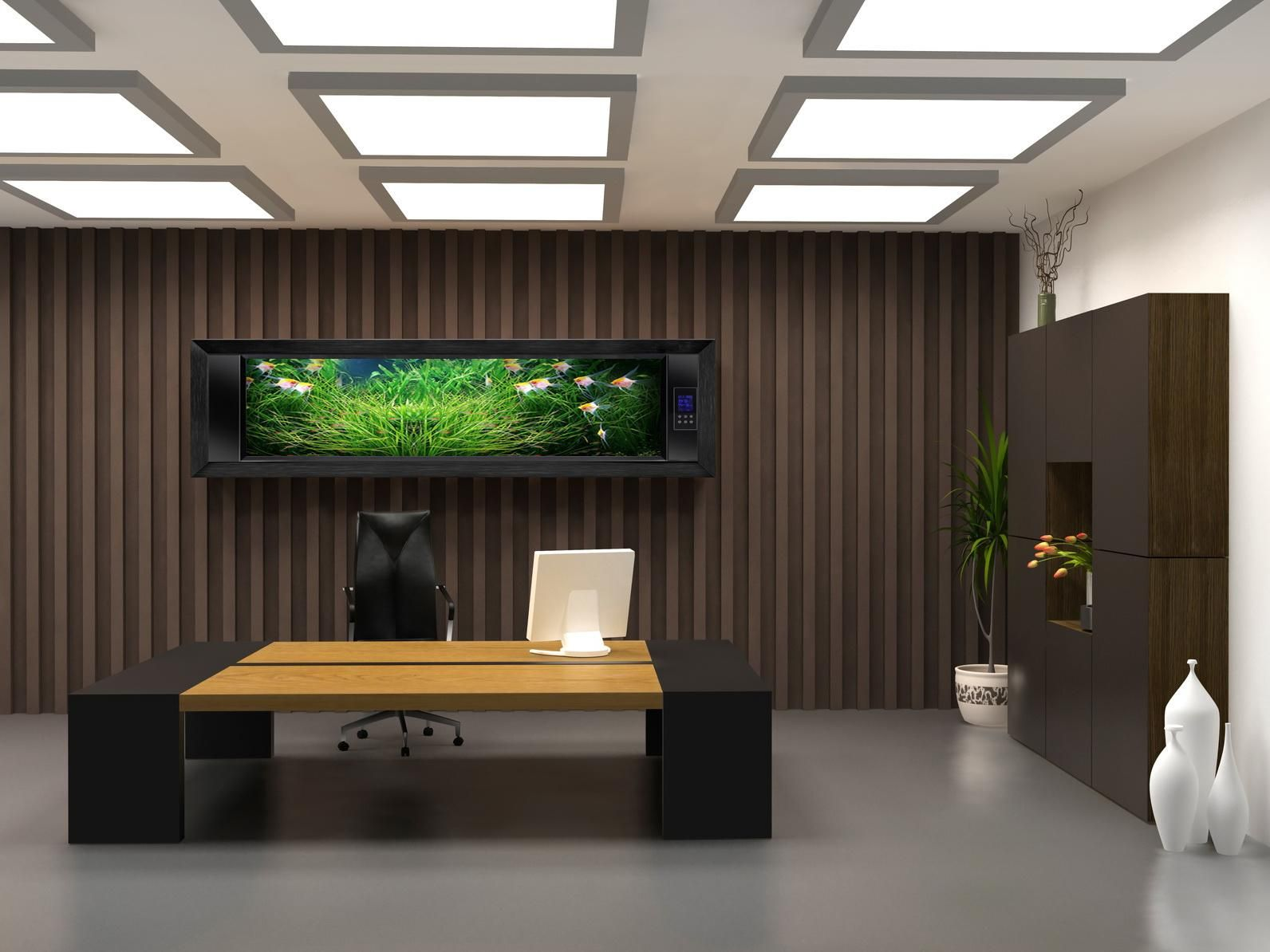 Dark Brown Wall Color For Modern Office Meeting Room What are the ...
