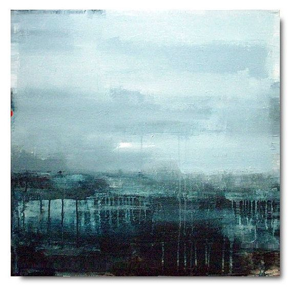 Blue abstract painting / Original landscape modern wall art / large painting on canvas / 30x30 / Made to order / ELSTON on Etsy, 2016:13kr