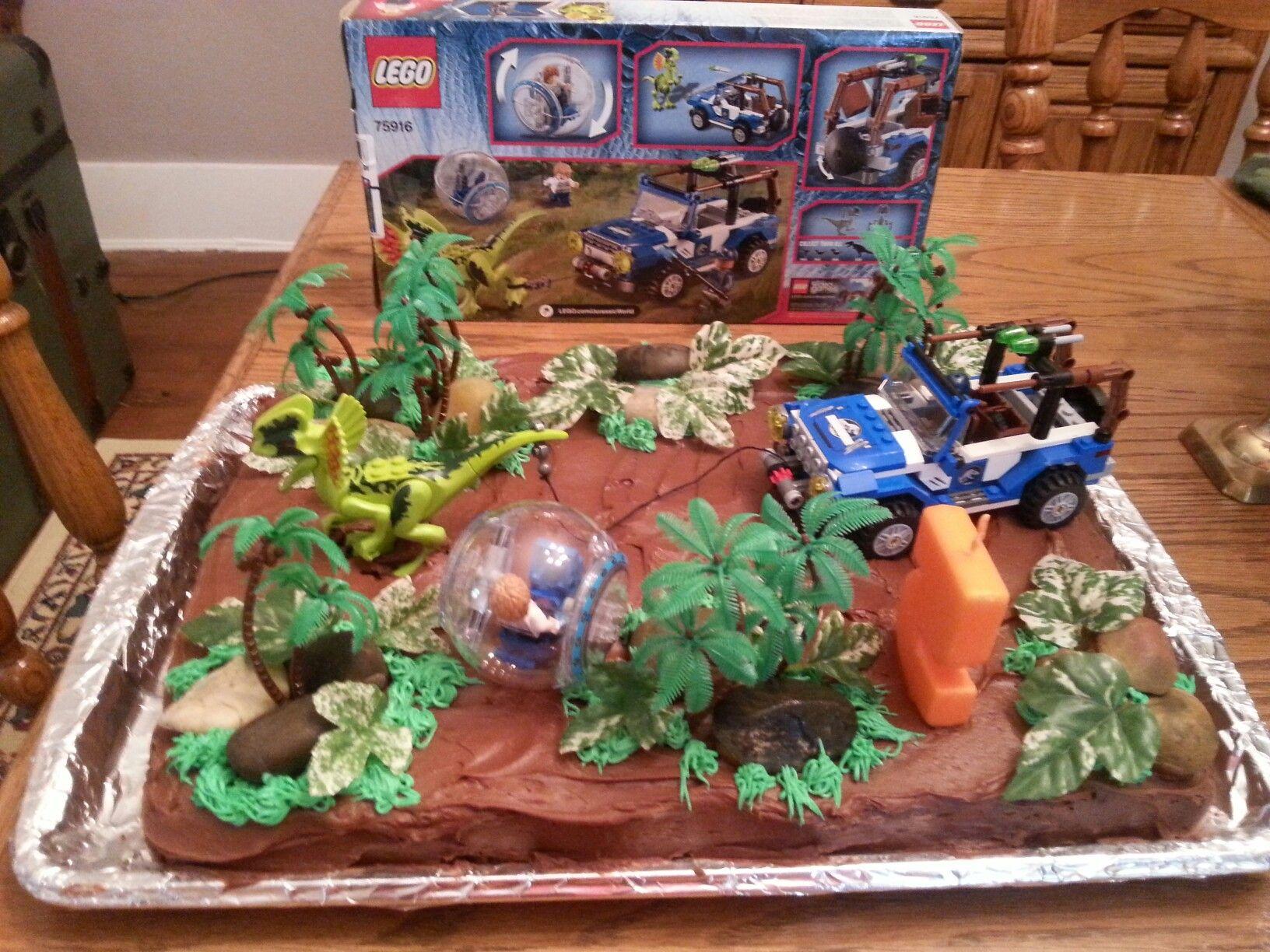 Lego Jurassic World Birthday Cake With Images Dinosaur Themed