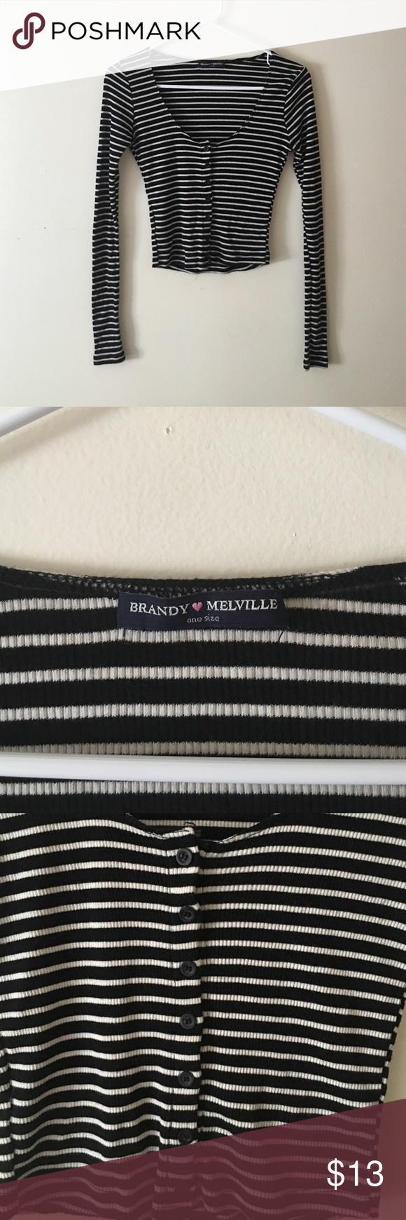 Striped Crop Top One size, fits like a small. Bought online from Brandy a while ago, worn once or twice. I'm like new condition. Very soft and comfortable, just not getting the wear it deserves. Brandy Melville Tops Crop Tops
