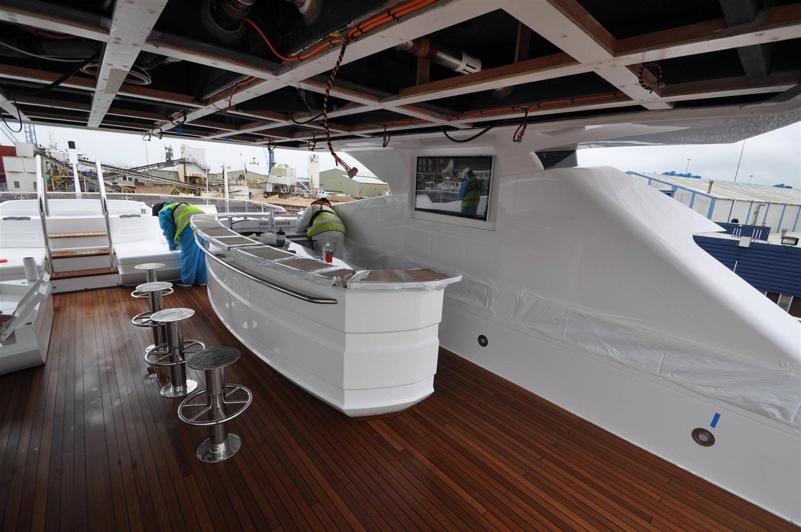 Videotree Outdoor TV installed in Sunseeker Princess AVK Yacht in Sky Deck Bar Area