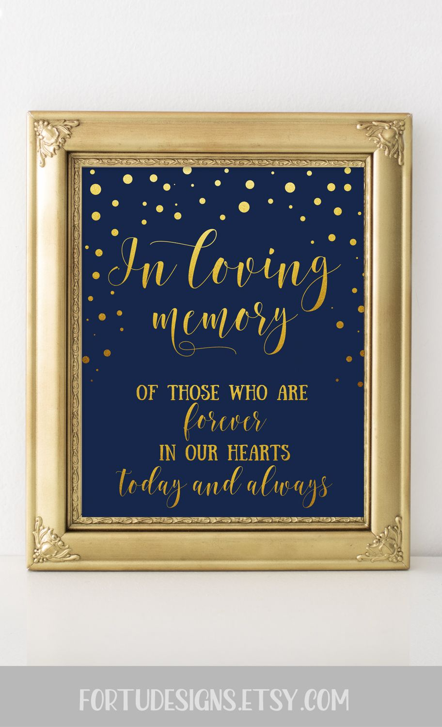Signs Decor Extraordinary Gold And Navy Blue Wedding Decor  Wedding Remembrance Sign  In Review