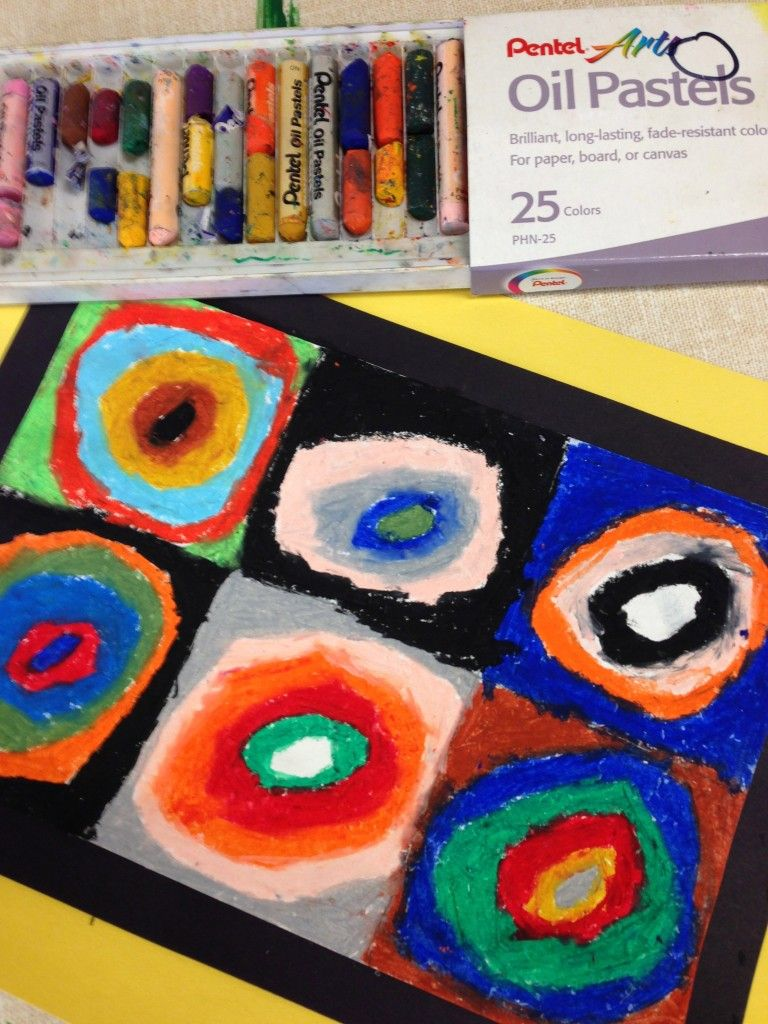 Kandinsky oil pastel art for kids | art class ideas | Pinterest