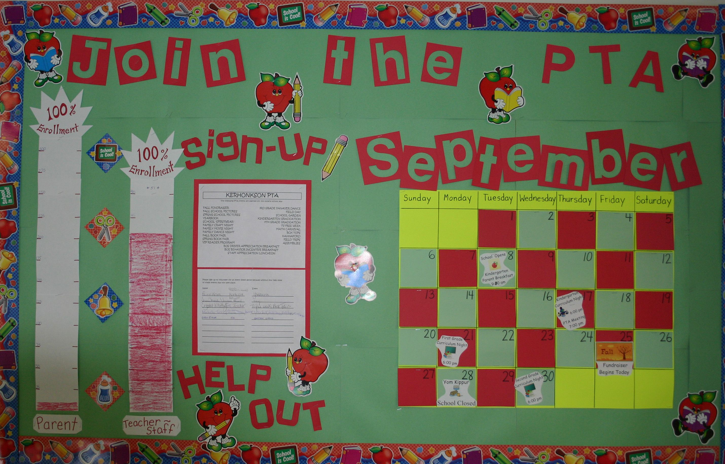 Calendar Monthly Basis : The pta bulletin board updated on a monthly basis