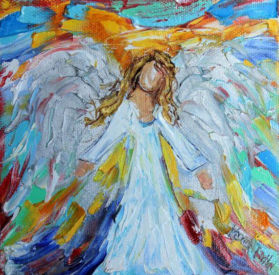 Original oil painting Little Angel palette knife by Karensfineart