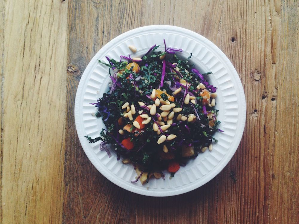 Kale purple cabbage and butternut squash salad hearty