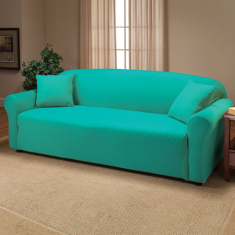 Jersey Stretch Sofa Slipcover With Pillow Blue