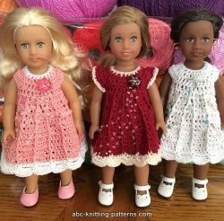 Crochet Patterns Galore - Mini American Girl Doll Post Stitch Dress #americangirldollcrafts