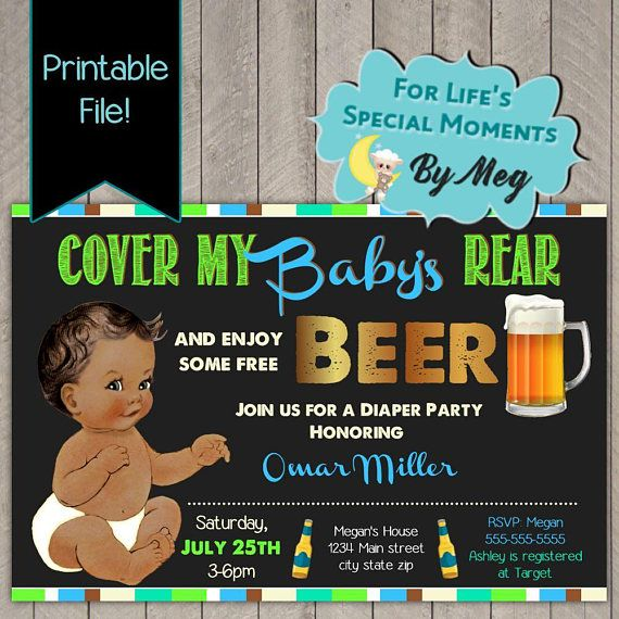 Cover My Baby S Rear Diaper Party Invitation Printable
