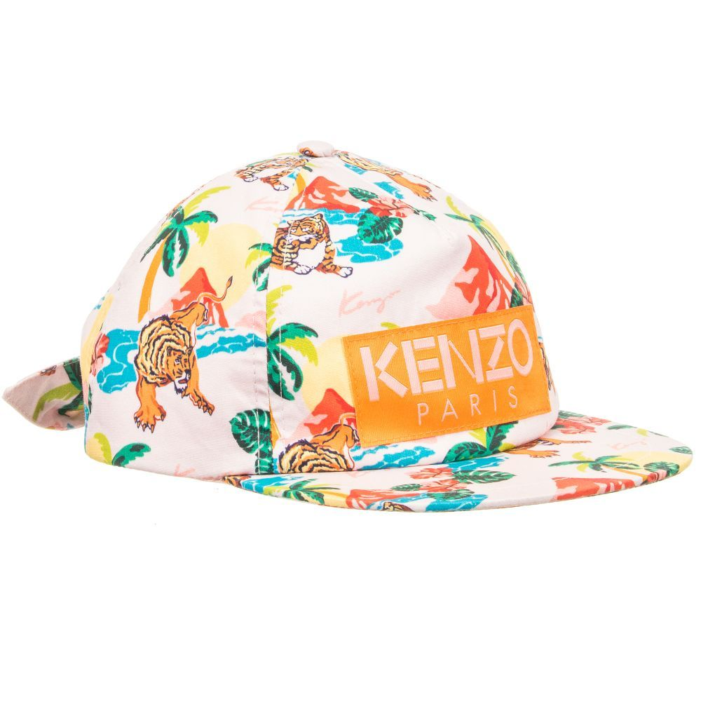 badd09adf6c Girls pink cap by luxury brand Kenzo Kids. It is made in lightweight cotton  with Surfing Tiger signature logo print.