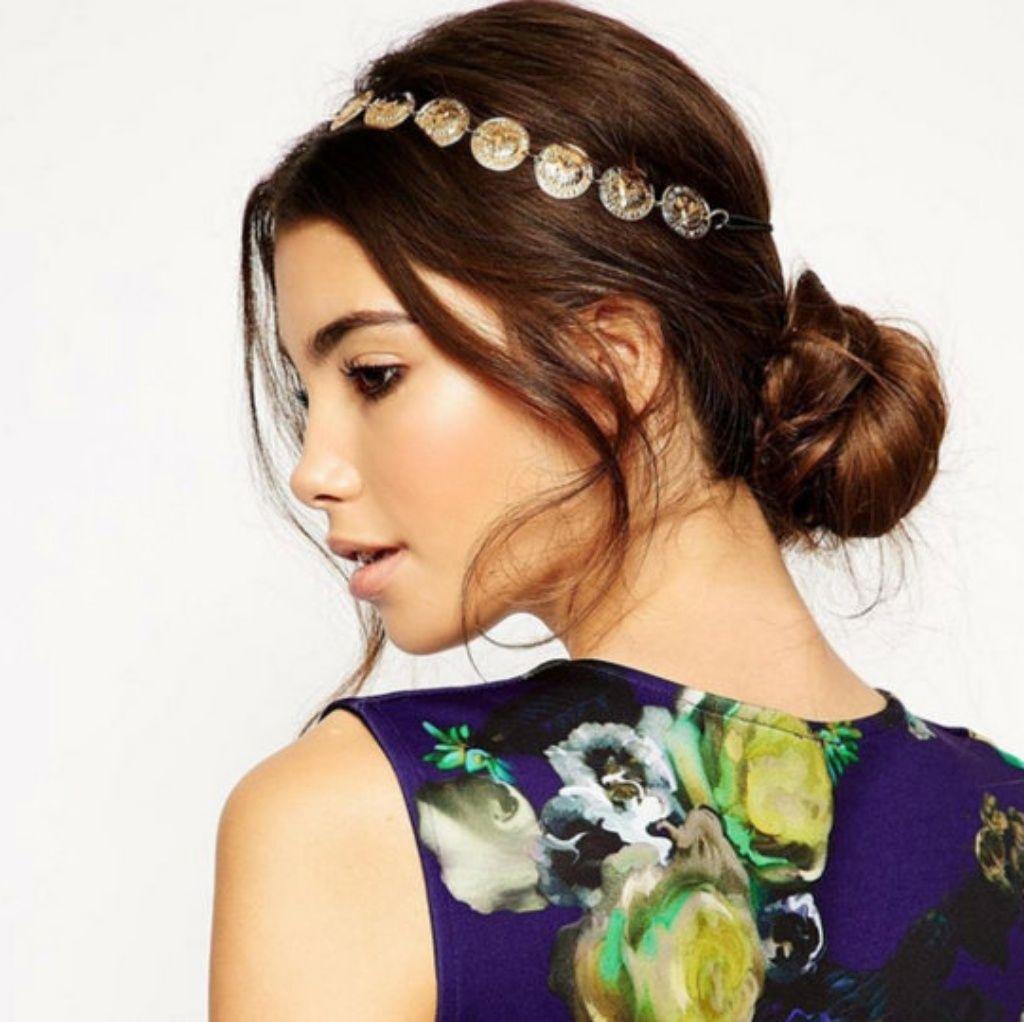 gold coins toga party black elastic headband | hair