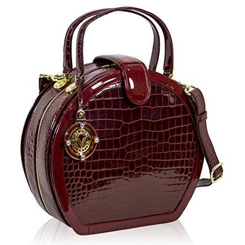 5acebd54c589 Valentino Orlandi Italian Designer Burgundy Croc Leather Purse Hard ...