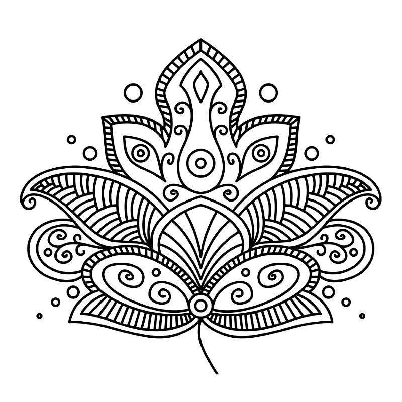 Único Hoja De Loto Mandala Para Colorear Inspiración - Dibujos Para ...