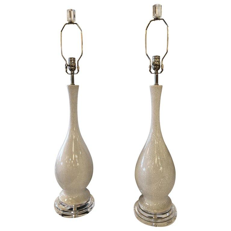 Vintage Porcelain Crackle Glaze Grey White Table Lamps Chrome