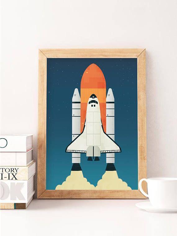 Space Print Spaceship Art Nursery Wall Art Nursery Wall Decor Space Shuttle Space Nursery Kids Room Art Kids Room Decor Spaceshuttle Kids Art Space Kids Room Art Spaceship Art