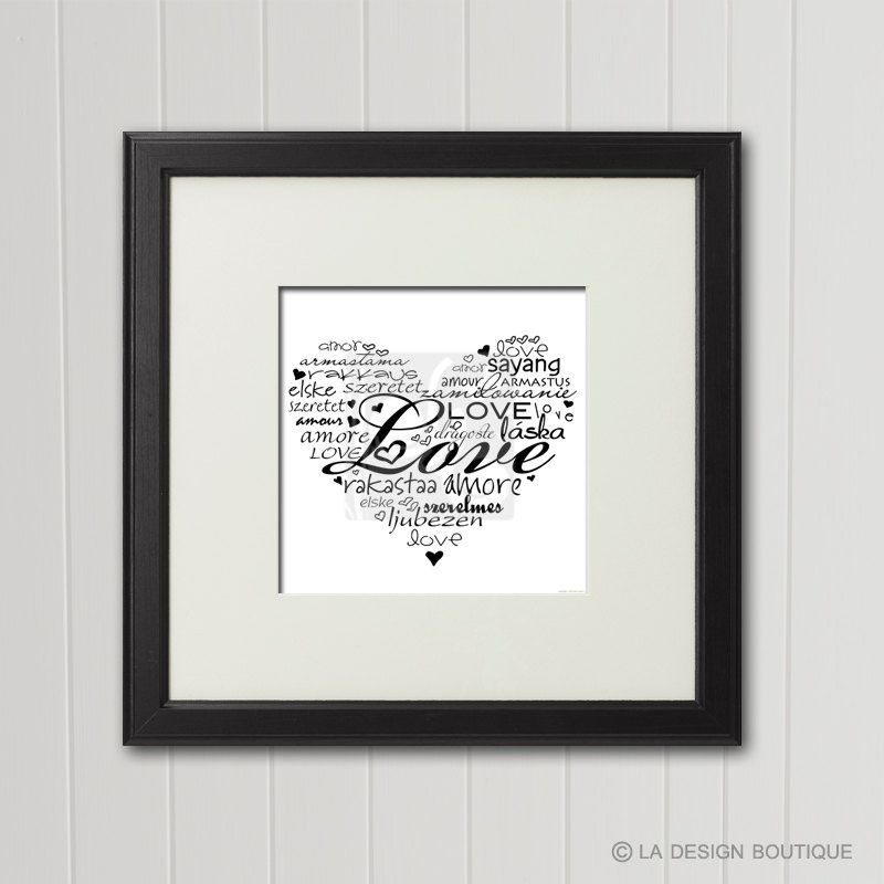"""Typography Art """"Love"""" in every language Heart Shape Typography Art Sentimental Gift Amor Amore Amour INSTANT DOWNLOAD Printable Poster Art by LaDesignBoutiqueShop on Etsy"""