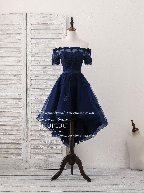 Dark blue tulle lace short prom dress dark blue homecoming dress