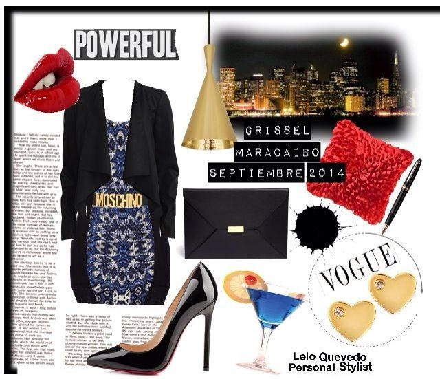 Casual night out outfit red lips high black heels By Lelo Quevedo