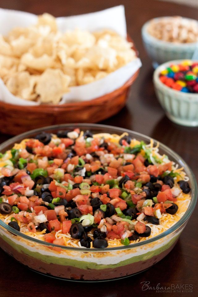 7 Layer Bean Dip Barbara Bakes Recipe Layered Bean Dip Appetizer Recipes Food
