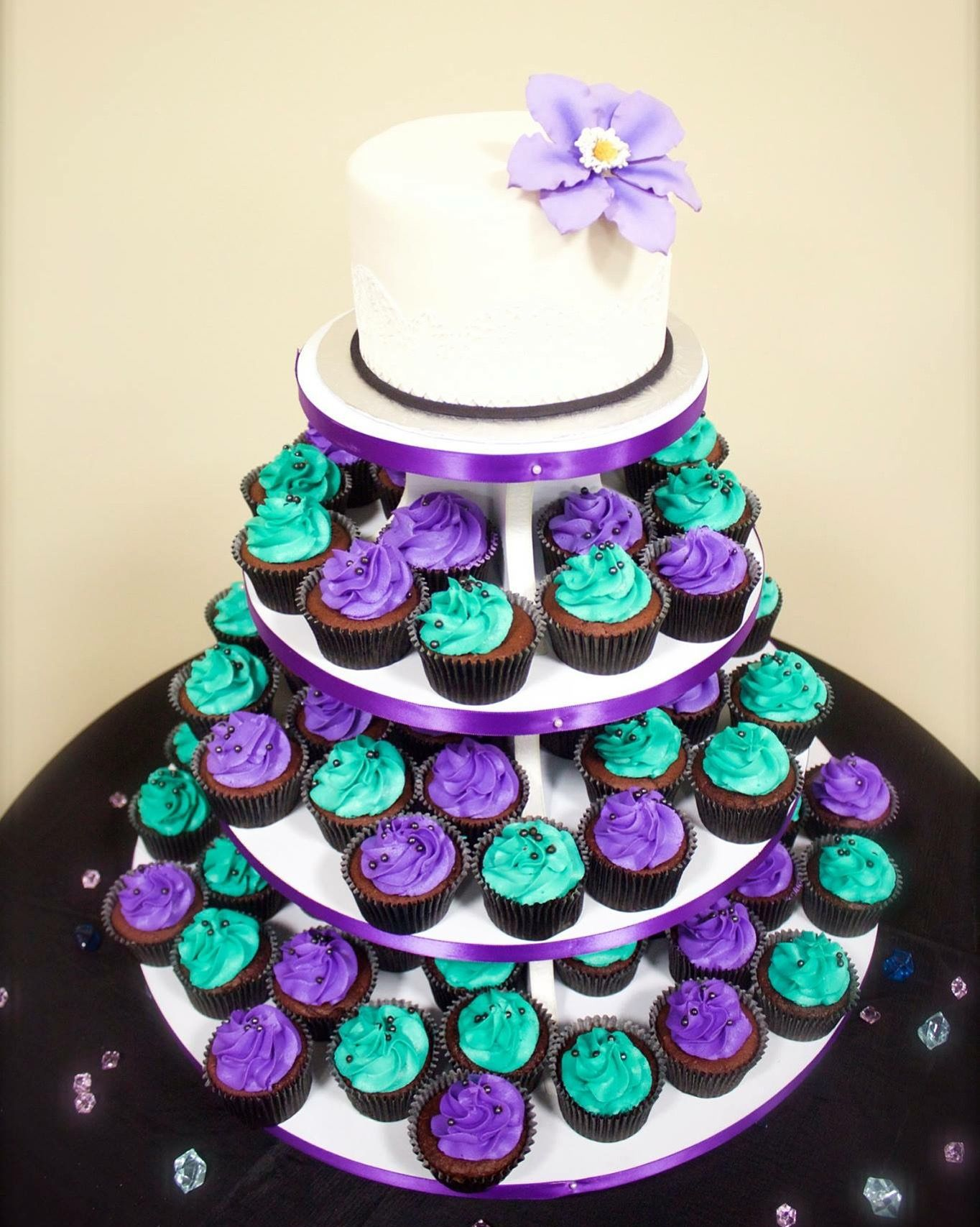Purple & Teal Wedding Cake