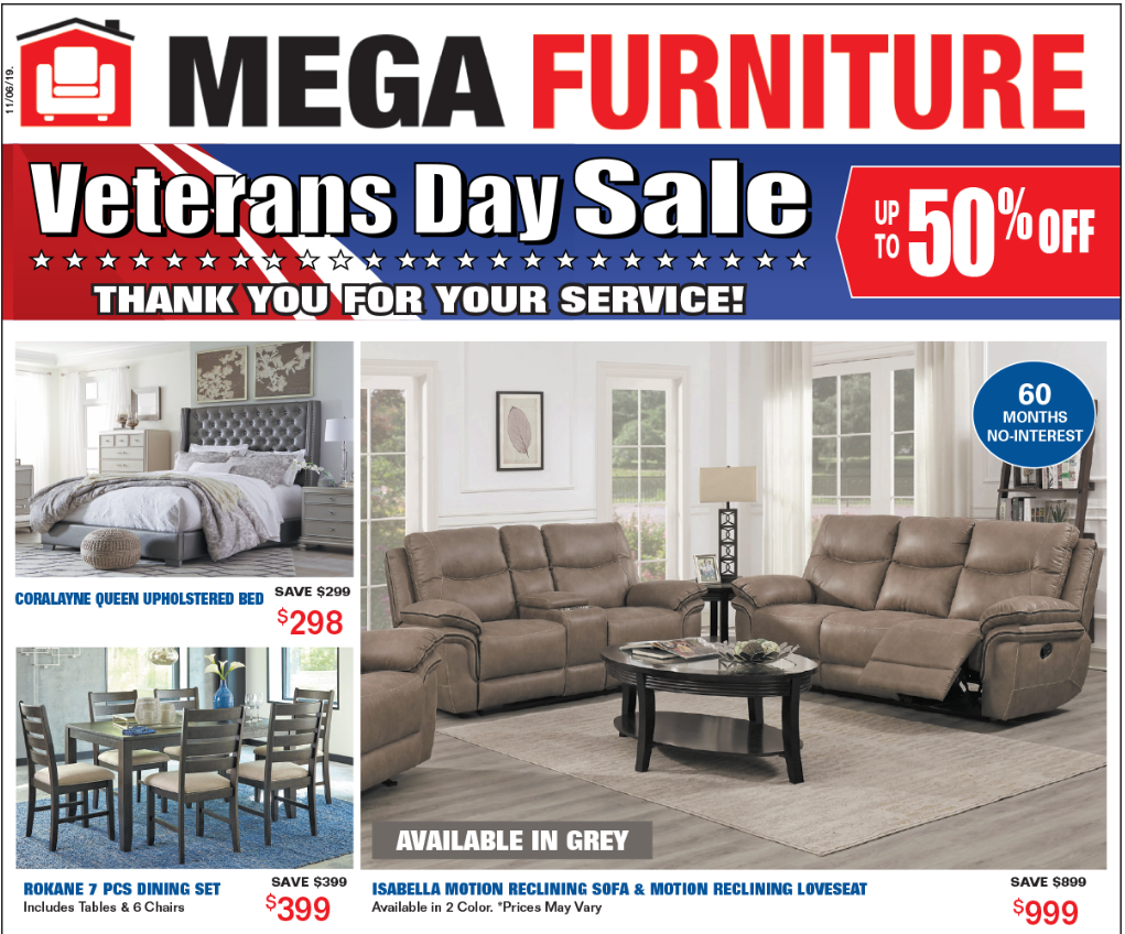 We Support Our Troops And To Show For It We Have Amazing Deals For All Our Veteransday Sale Will Provid Mega Furniture Fine Dining Room Queen Upholstered Bed