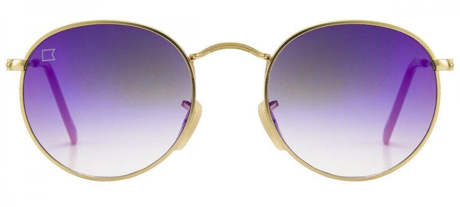 Lpz Copacabana 5447 Espelhado Dourado Roxo Roxo Oculos De