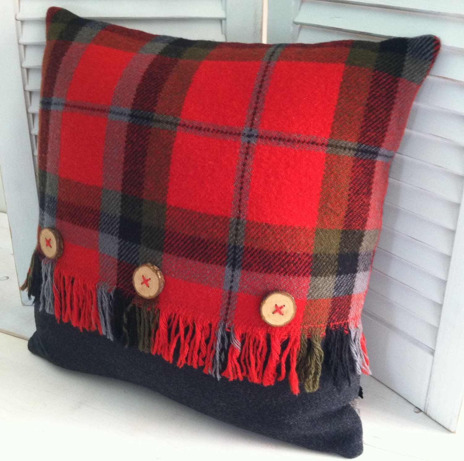 Vintage wool blanket red plaid pillow with wooden buttons