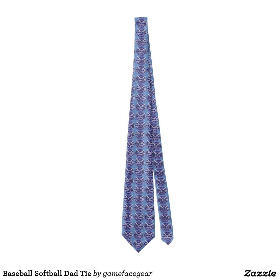 #Baseball Softball Dad Tie. Custom neck ties, printed on both sides.  #Ties #Zazzle