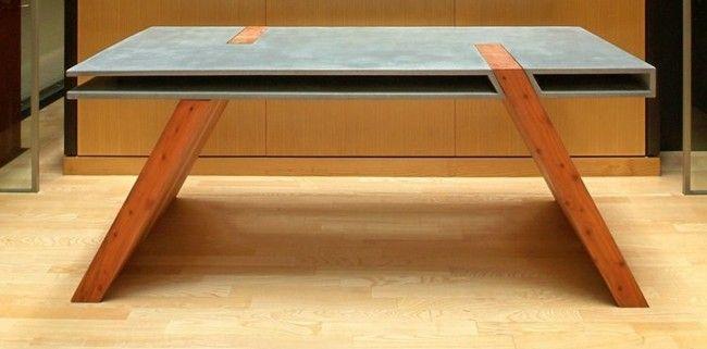 Beton Tisch Holz Beine Esszimmer Minimalistisch Einrichten