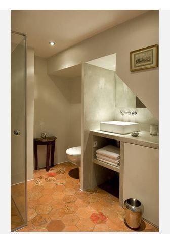 tomettes et beton meuble salle de bain