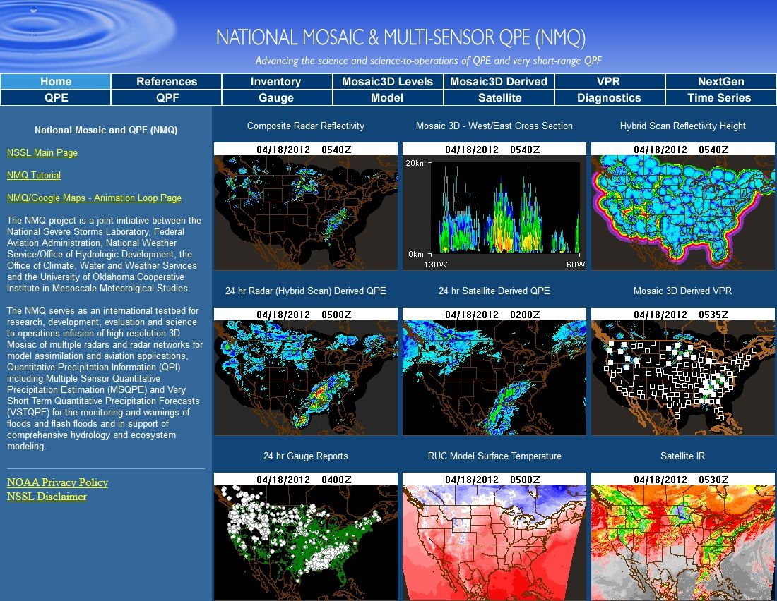The NMQ project is a joint initiative between the National Severe Storms Laboratory, Federal Aviation Administration, National Weather Service/Office of Hydrologic Development, the Office of Climate, Water and Weather Services and the University of Oklahoma Cooperative Institute in Mesoscale Meteorolgical Studies. The NMQ serves as an international testbed for research, development, evaluation and science to operations infusion of high resolution 3D Mosiac of multiple radars…