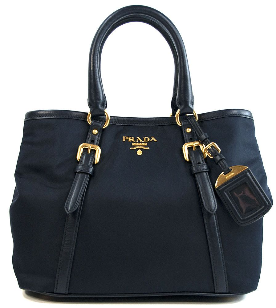 32ee8ff77e7b NWT Prada BN1841 Navy Bauletto Aperto Tessuto Nylon Soft Calf Leather  Satchel #PRADA #Satchel