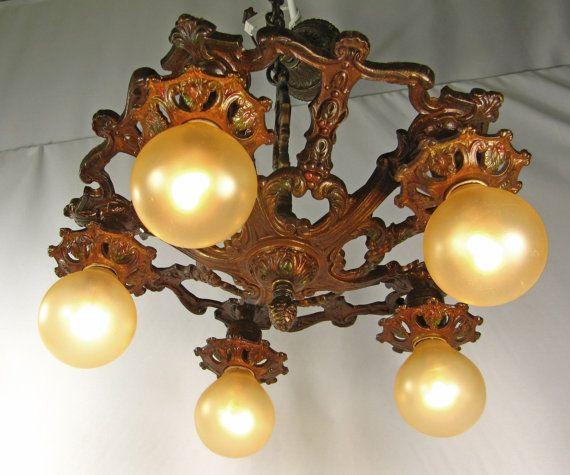 Chandelier Vintage Deco Cast Iron Polychrome Ceiling Fixture Antique Light 1920s 1930s