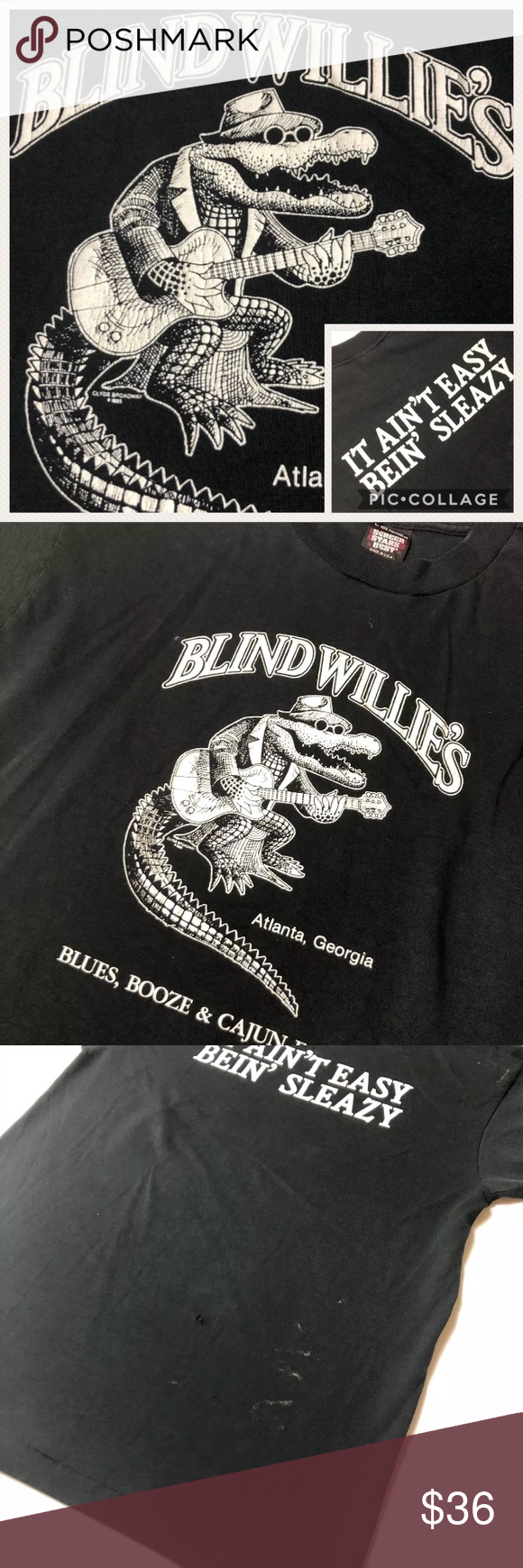 ecef44c7d7a210 Vtg BLIND WILLIES - Being Sleazy Saloon T Shirt Vintage BLIND WILLIES  Blues, Booze &