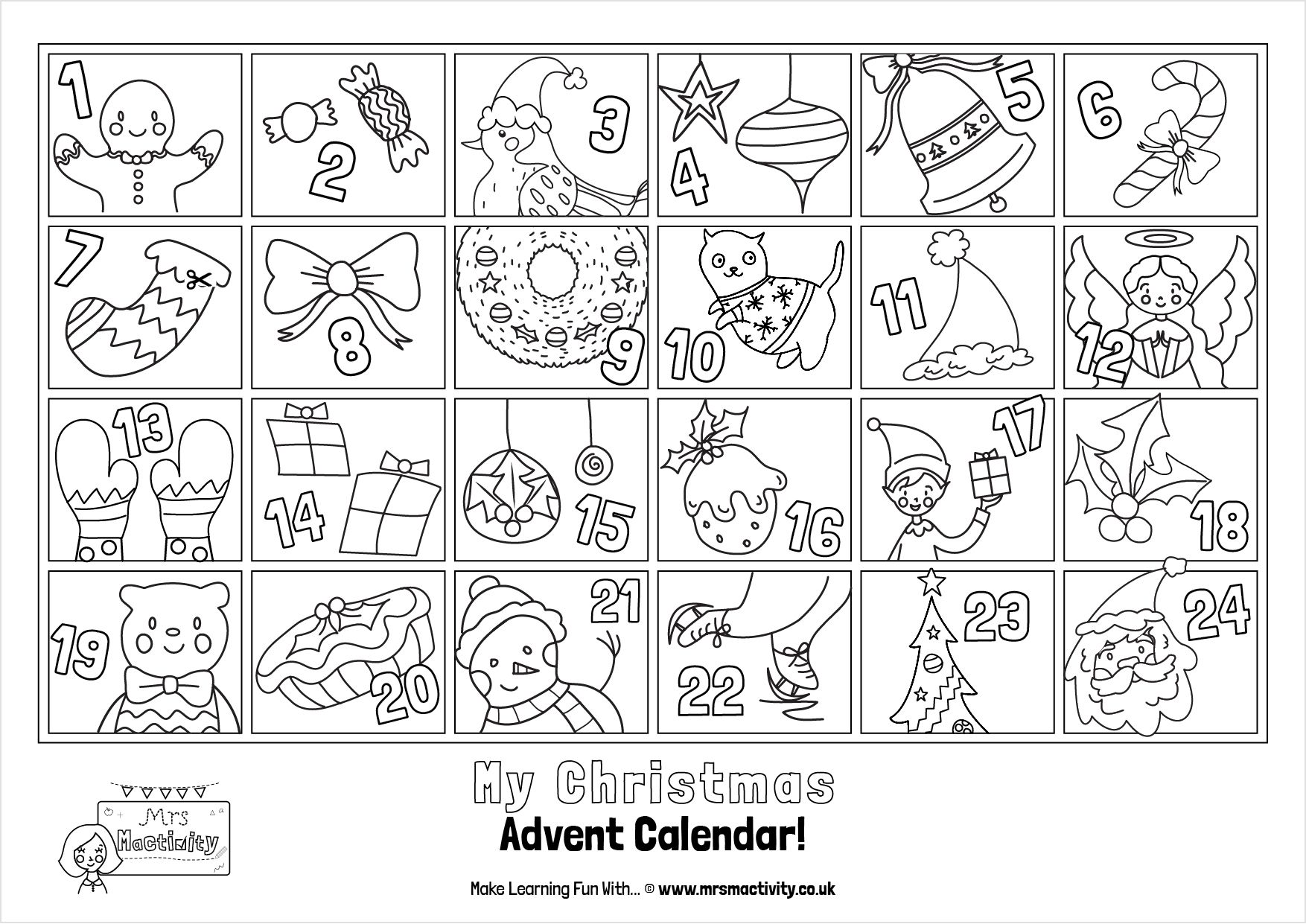 This Advent Calendar Colouring Page is perfect for doing one a day
