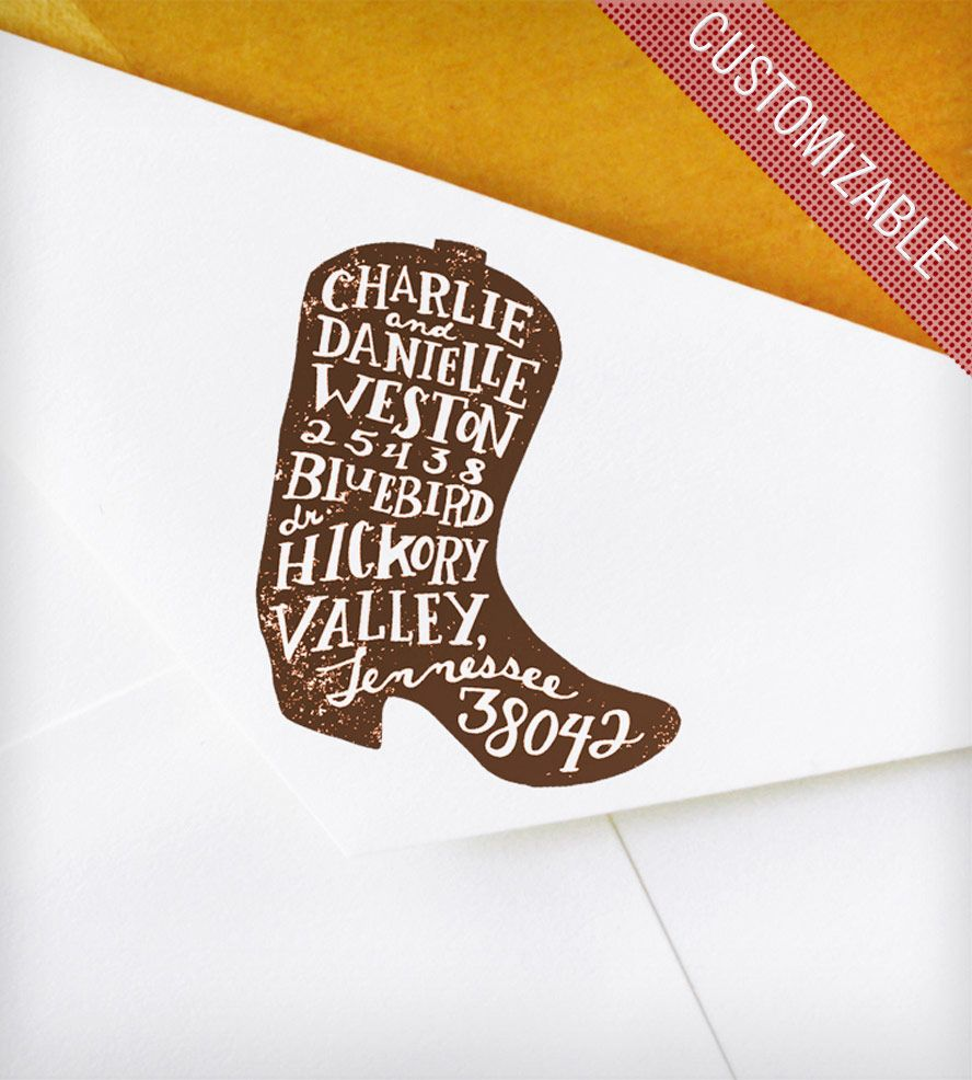 Custom Rubber Address Stamp with Hand-Drawn Cowboy Boot | Boots ...