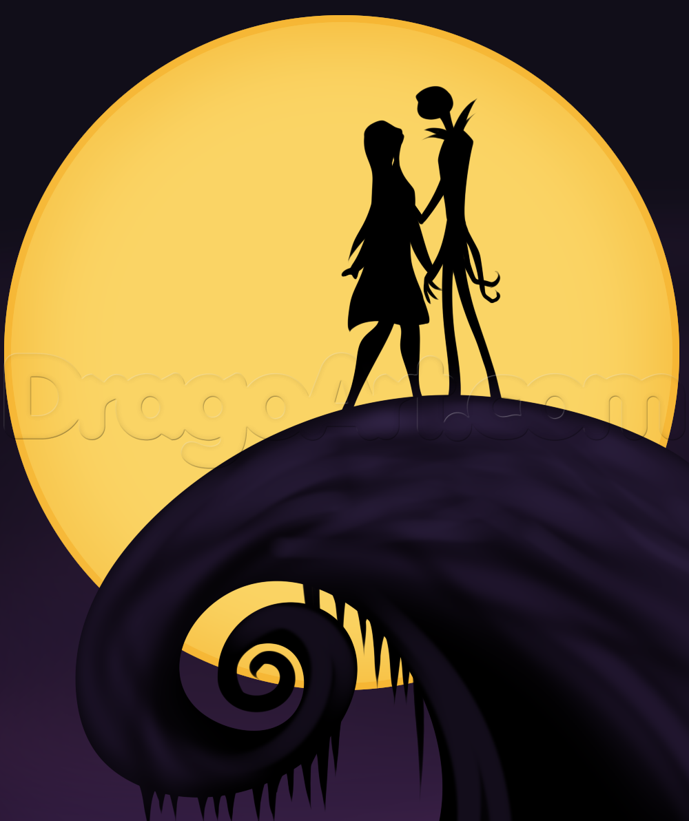 How To Draw Jack And Sally By Dawn With Images Nightmare Before Christmas Tattoo Sally Nightmare Before Christmas Halloween Painting