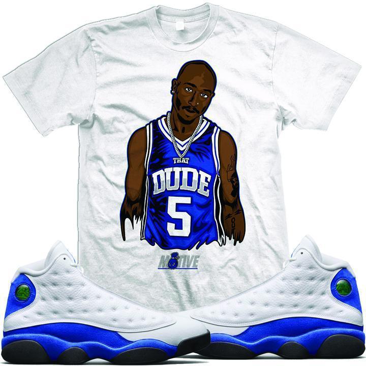 b15c9fff019f Jordan 13 Hyper Royal Sneaker Tees Shirt - DUDE