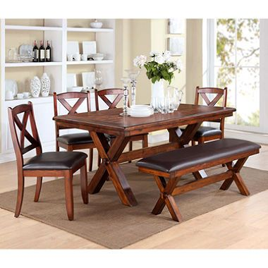 Crosswood 6 Piece Dining Set With Bench   Seating With Durable Bonded  Leather Padded
