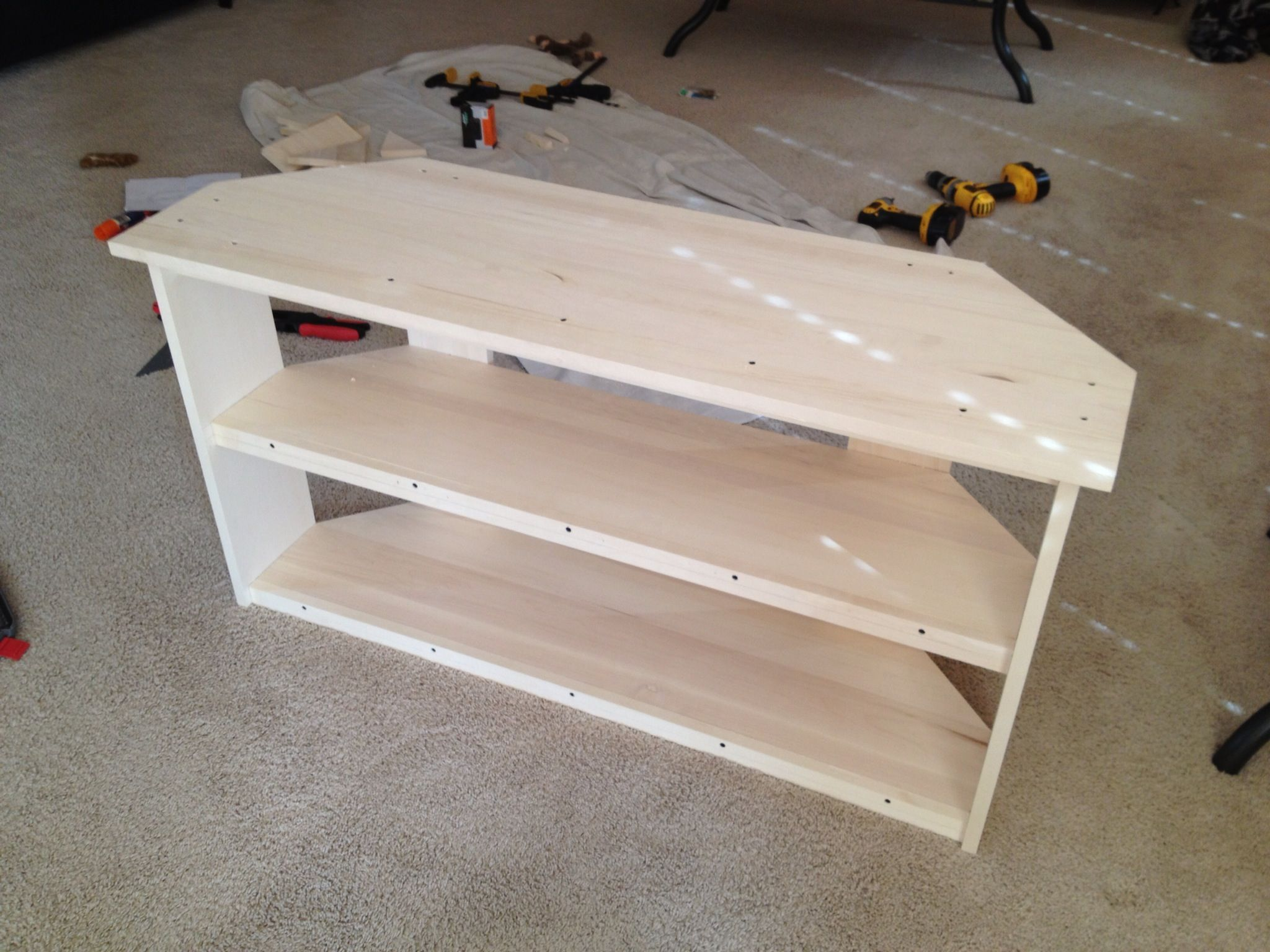 just cant buy a corner tv stand made like this for 90 that 39 s the materials cost and build it. Black Bedroom Furniture Sets. Home Design Ideas