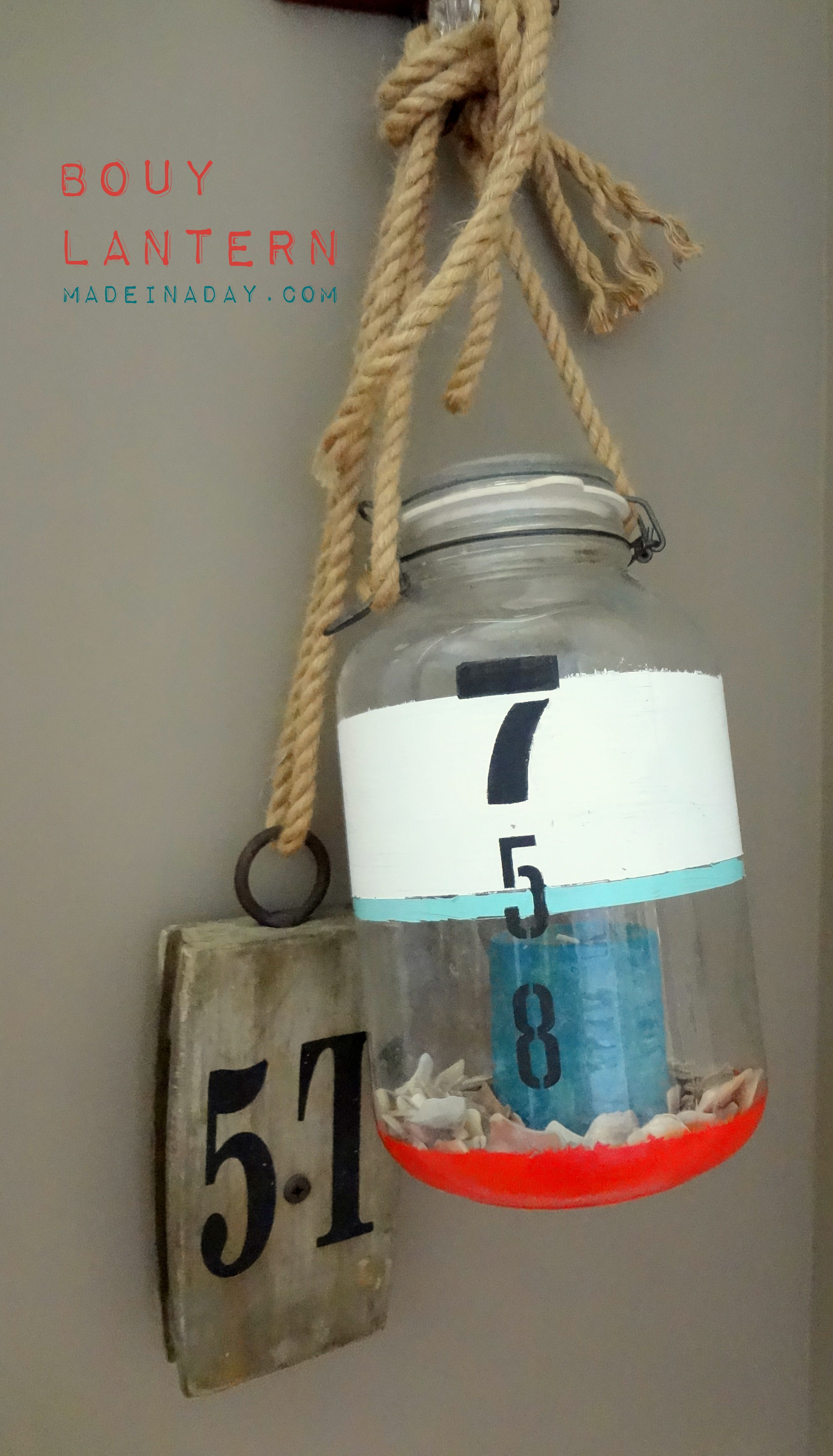 DIY tutorial, DIY Bouy Lantern, easy craft, using craft products from Blitsy.com, Nautical Bouy decor, easy crafts, design DIY, Marine bouy Sea decor, beach