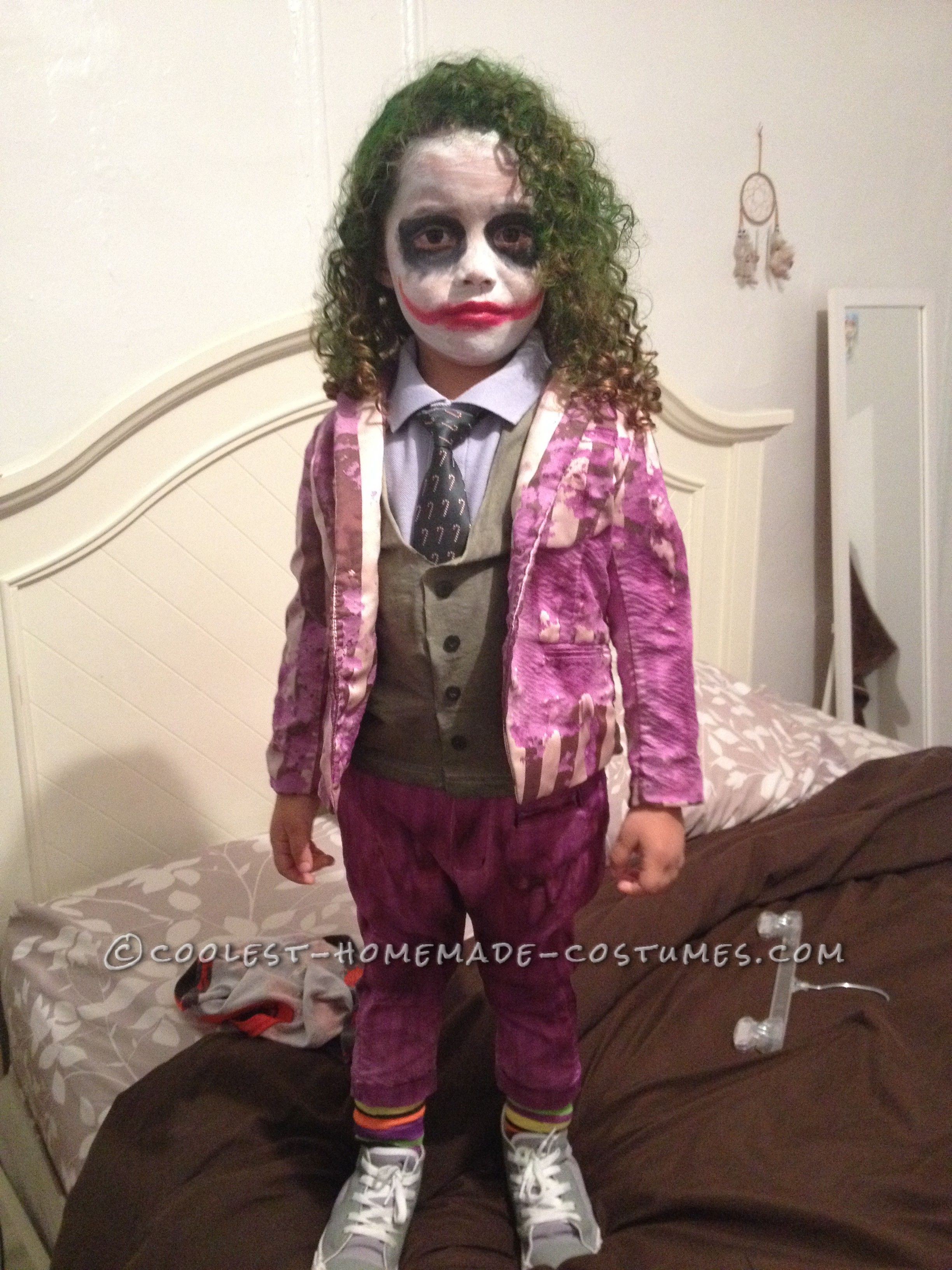 creative and unique homemade joker costume for a toddler - Joker Halloween Costume Kids
