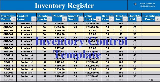 Download Free Inventory Control Template In Ms Excel  Excel Data
