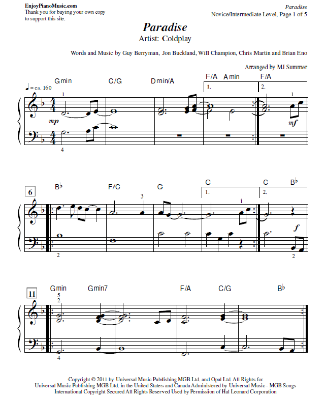 Paradise By Coldplay Sheet Music For Piano At Intermediate Level Sheet Music Coldplay Digital Sheet Music