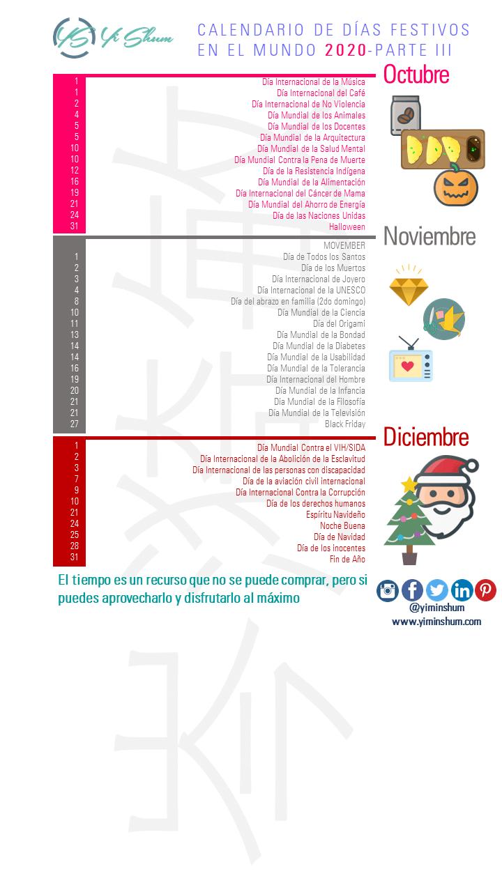 Conoce Los Días O Fechas Festivos Conmemorativos Comerciales E Internacionales En El Mundo Que Puedes Usar Para El Año 202 Calendario Dias Calendario Festivo