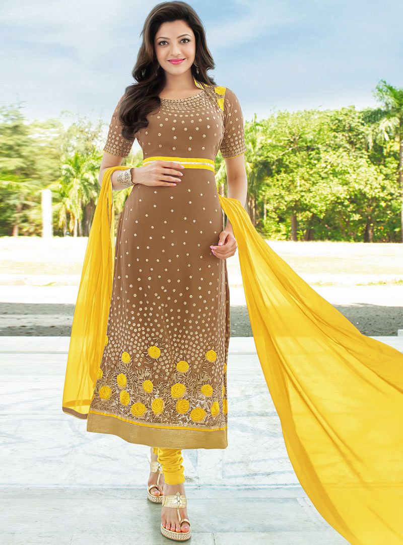Kajal Aggarwal Brown Georgette Churidar Salwar Suit 87851 Beautiful Indian Actress Fashion Clothes For Women