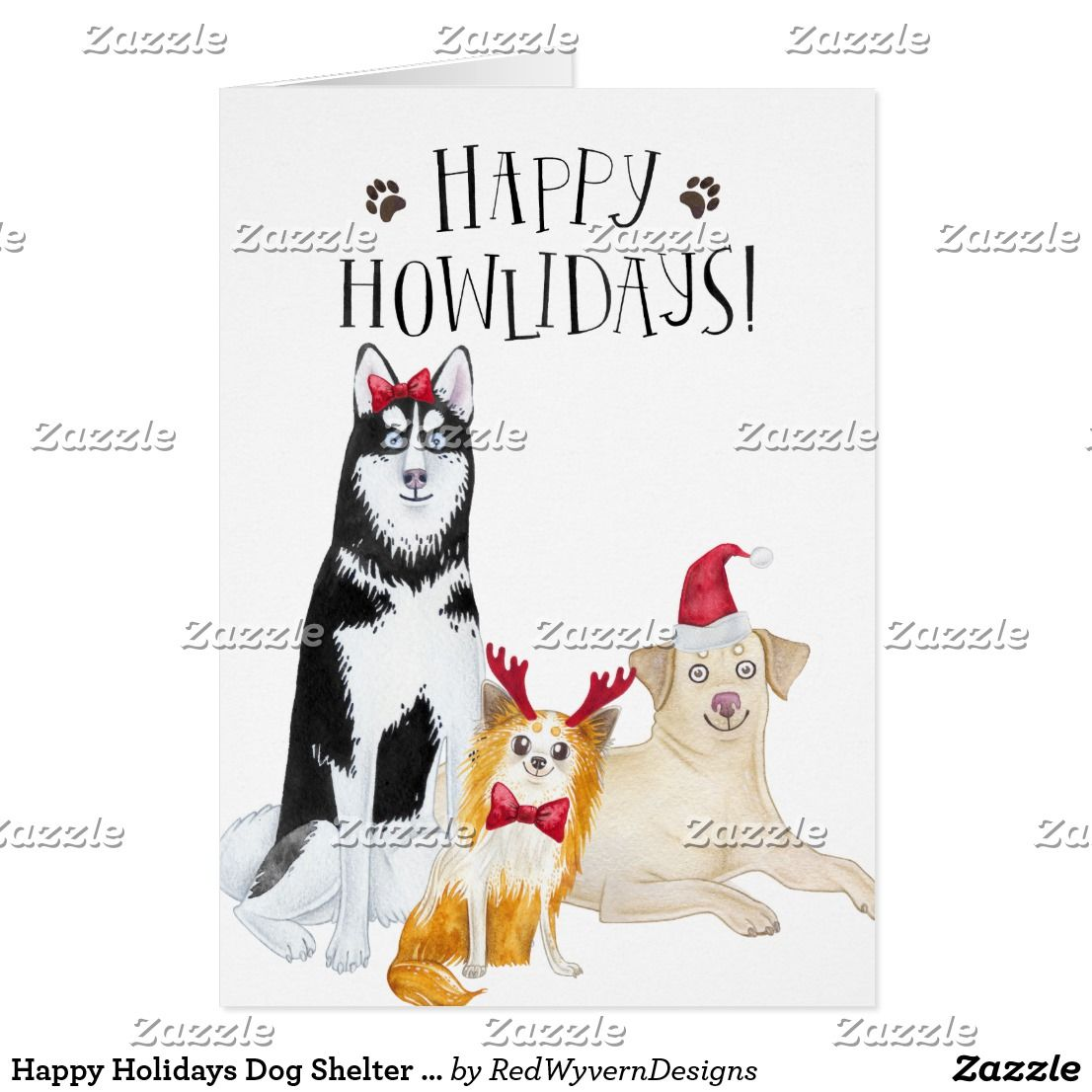 Happy Holidays Dog Shelter Holiday Greeting Card Red Wyvern
