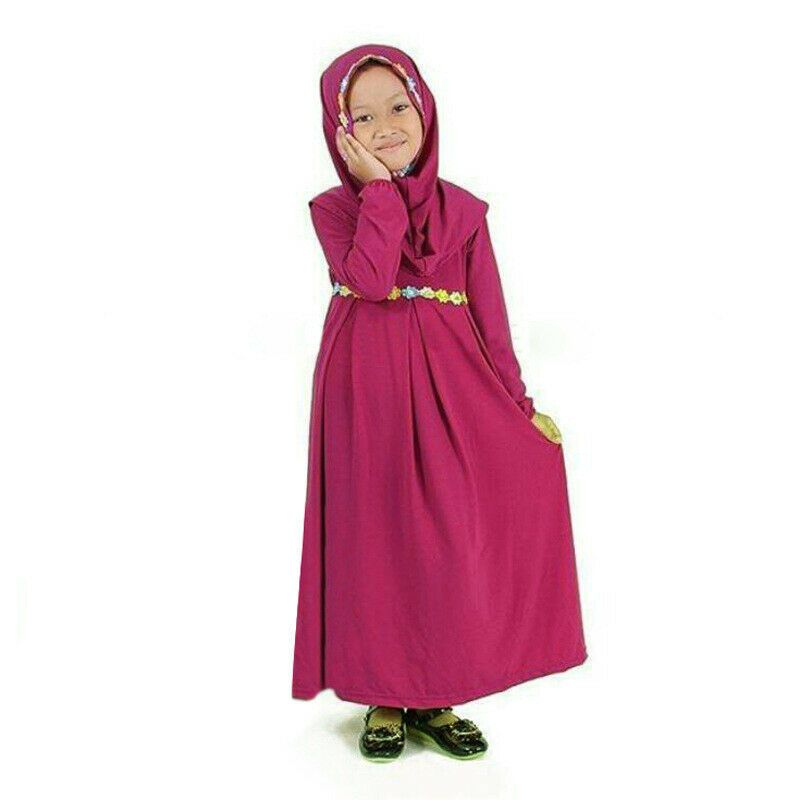 Abaya with Hijab Embroidered with Colored Flowers Islamic Long Muslim Dress Long Sleeve for Baby Toddler Girl