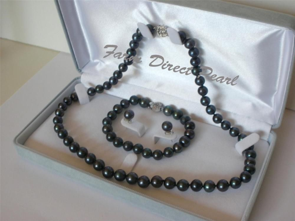 Black Pearl /& Silver Pendant Nearly Flawless 7-8mm Cultured Freshwater Pearls